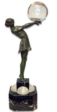 Art Deco bronze figure of a dancer balancing a bubble of glass by Armand Godard