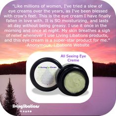 Living Libations, All Seeing Eye, Crows Feet, Eye Serum, Natural Products, Natural Skin Care, Moisturizer, Skincare, Eyes