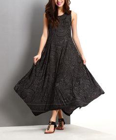 Charcoal Paisley Handkerchief Maxi Dress by Reborn Collection #zulily #zulilyfinds