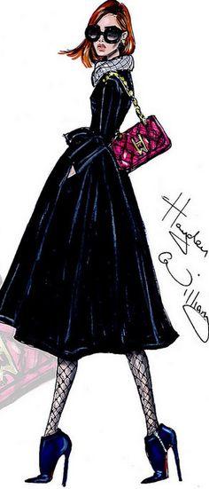 Fashion Illustration by Hayden Williams Runway Fashion, Fashion Models, Girl Fashion, Fashion Design, Fashion Model Sketch, Fashion Sketches, Fashion Illustrations, Spy Girl, Hayden Williams
