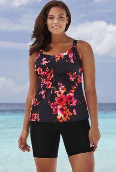 4646be8c6f411 Beach Belle Poppies Flared Bike Shortini Modest Swimsuits