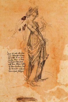 Albrecht Durer.lady holding a hawk.c.1484-1486.chalk.[BritMus.London]