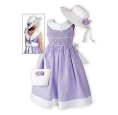 Lilac Classic girls' hand-smocked dress of linen.Made exclusively for The Wooden Soldier.