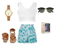 """"""""""" by rachavez on Polyvore featuring New Look, Glamorous, Breckelle's, Ray-Ban and Tory Burch"""