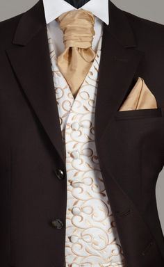 White and Gold Wedding. Groom and Groomsmen. Chocolate Brown Wedding Suit
