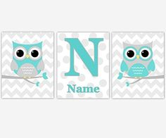 CANVAS Baby Nursery Wall Art Teal Aqua Gray Owls Birds on Branch Personalized Name Chevron Polka Dots Baby Nursery Décor Prints. CANVAS Baby Nursery Wall Art Teal Aqua Gray Owls Birds on Branch Personalized Name Chevron Polka Dots Baby Nursery Décor Prints SET OF 3 Gallery Wrapped Canvas Sizes Available: 8x10 11x14 12x12 16x20 #487.