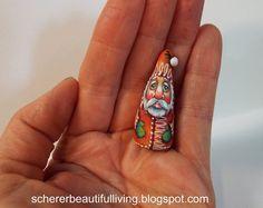 Miniature Folk Art Primitive Santa Claus Doll Dollhouse Collectible Original