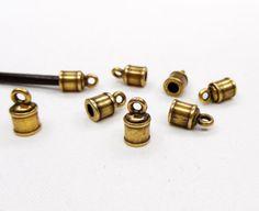 Bronze End Caps Brass Antique Barrel End Clasps Hole by vess65