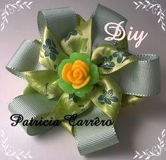 Flor fita de gorgurão e fita de cetim DIY  Flower ribbon grosgrain and ...