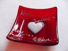Red Heart Valentines I love you glass fused mini by sherrylee16, $15.00
