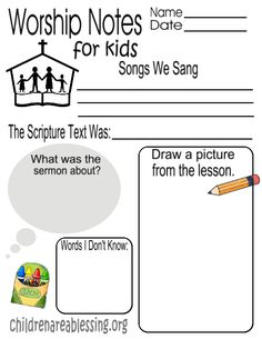 Free Worship Notes for Kids PDF   Click here to download: worshipnotesforkids   Click here to download: caahisaiah11812 Click here to download: caab1thess518 Click here to download: caabpsalm10715x…