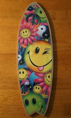 SMILEY FACE FLOWER PEACE YIN YANG SYMBOL Surfboard Beach Home Decor Sign - NEW #Tropical