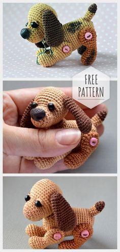 Amigurumi Mini Dog Free Pattern - Amigurumi X Crochet Dog Patterns, Crochet Beanie Pattern, Amigurumi Patterns, Knitting Patterns, Cute Crochet, Crochet For Kids, Crochet Dolls, Knitting Projects, Crochet Projects