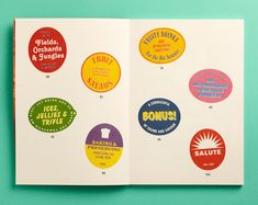 Above: Enlarged fruit sticker designs for Bompas and Parr's Tutti Frutti book, art direction by Inventory Studio