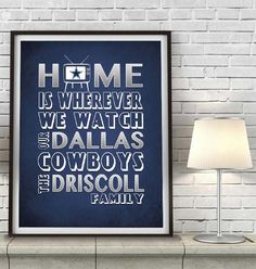 """Dallas Cowboys inspired Personalized Customized Art Print- """"Home Is"""" Parody- Retro, Vintage- Unframed Print"""