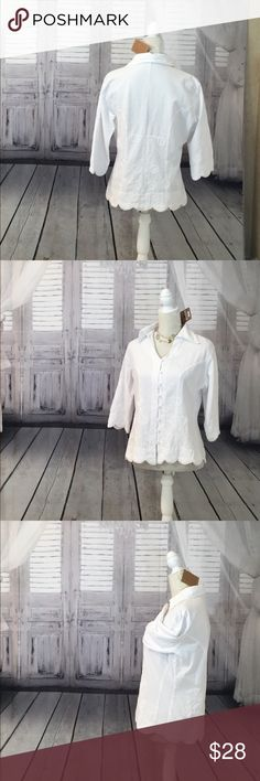 White Island Couture Shirt NWT White Island Couture Giocam Shirt size Extra Large.  Brand New with tags. Peruvian cotton... sides have stretch panel dan sack side which seems apart of the design but actually added comfort.  This shirt is fitted & although made of 100%Cotton it gives & moves with you.  This shirt is white on white & beautifully detailed from the scalloped sleeves & shirt trim, to the individual button loops. Giocam Tops Blouses