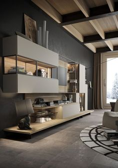Modern Kitchen Cabinets with Italian Cabinetry Tv Unit Design, Tv Wall Design, House Design, Modern Office Design, Office Interior Design, Interior Design Living Room, Living Room Designs, Room Interior, Office Designs