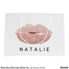 Name Rose Kiss Lips Glitter Gray Minimalim Large Gift Bag Custom Gift Bags, Customized Gifts, Glitter Home Decor, Large Gift Bags, Artwork Design, Kisses, Branding Design, Unique Gifts, Create Yourself
