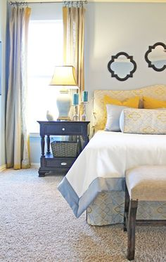 How to Incorporate Feng Shui For Bedroom: Creating a Calm & Serene Space Remove exercise equipment from the bedroom altogether. The good feng shui energy in your bedroom is destroyed when these items are present in your bedroom. Blue Yellow Bedrooms, Blue Bedroom, Master Bedroom, Girls Bedroom, Bedroom Decor, Grey Yellow, Yellow Accents, Bedroom Colors, Copper Bedroom