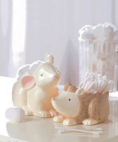 Look what I found on #zulily! Bunny & Hedgehog Cotton Ball & Swab Holders by Grasslands Road #zulilyfinds