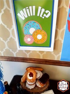 Doughnut Sign from Good Mythical Morning Inspired Birthday Party via Mandy's Party Printables via Kara's Party Ideas