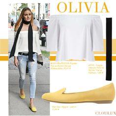 Olivia Palermo trägt ein schönes, weißes Off-Shoulder Top zu einer ripped Jeans und schönen Ballerina-Slippers.