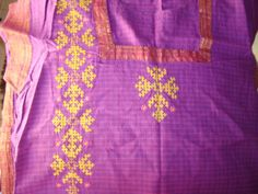 This tunic is double colour, dark pink and violet. The fabric is south cotton with checks and zari border. Thought, bright golden yellow thread will go well with the combination ,and I added a za…