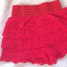 Red crochet shorts NWOT Red crochet shorts size M/L never worn before Shorts