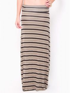 #Chevron Striped Maxi Skirt