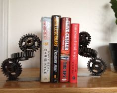 Handmade Industrial Gear Bookends