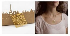 Street grids might be sexy to urban planners, but Talia Sari wants them to be sexy to you, too! Her 'You Are Here' line makes city street grid plans into jewelry. Map Necklace, Gold Necklace, City Outline, Young Designers, Schmuck Design, Elegant Outfit, Geometric Designs, Minimalist Jewelry, Planer