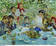 Painting with samovar by Nikolay Bogdanov-Belsky