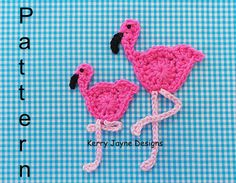 FLAMINGO APPLIQUE CROCHET Pattern By Kerry by KerryJayneDesigns