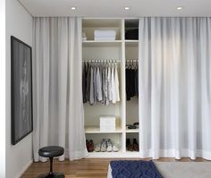 Bedroom: Hidden Closet Bedroom With Curtain Decor - 10 Hidden Closet Ideas For Small Bedrooms Bedroom Wardrobe, Home Bedroom, Bedroom Decor, Open Wardrobe, Bedroom Wall, Mirror Bedroom, Hidden Closet, Closet Curtains, Curtain Wardrobe Doors