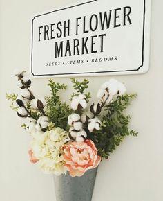 Cotton stems flower arrangement