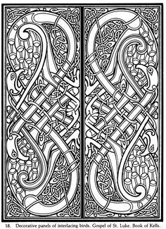 Decorative panels of interlacing birds - Gospel of St. Luke, Book of Kells