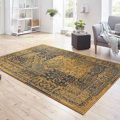 Hanse Home Vintage vloerkleed - Susa safira Geel/antraciet Susa, Animal Print Rug, Home Decor, Google, Products, Sapphire, Desk, Accessories, Decoration Home