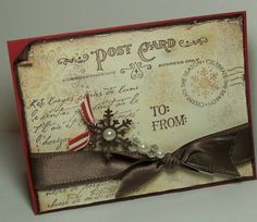 Distressed Vintage Post Card Christmas Card...with snowflake embellishment.