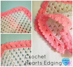 Hearts Collar and Edging - free pattern Crochet Hearts edging - free pattern right here.Crochet Hearts edging - free pattern right here. Crochet Blanket Edging, Crochet Trim, Love Crochet, Easy Crochet, Crochet Stitches, Crochet Hooks, Crochet Patterns, Crochet Edgings, Crochet Blankets