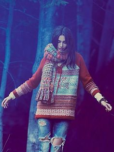 Love this sweater`Free People Bae Laced Pullover Hippie Style, Bohemian Style, Boho Chic, Winter Wear, Autumn Winter Fashion, New Outfits, Summer Outfits, Summer Clothes, Looks Style