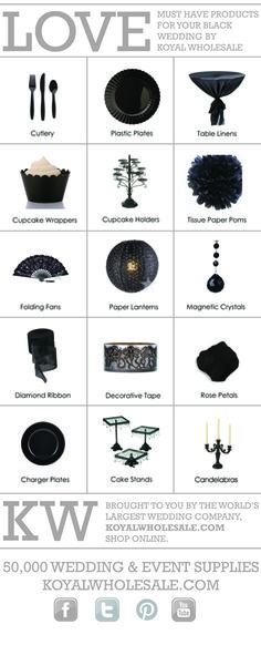Black Wedding Inspiration--lots of items to  use for weddings and prom
