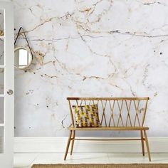 Look Wallpaper, Rose Gold Wallpaper, Cream Wallpaper, Brown Wallpaper, Wallpaper Murals, Modern Bedroom Design, Home Interior Design, Back To Nature, Marble Wall