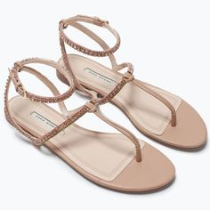 b042065eeec1 Zara Jeweled Sandals 37 Never worn with no tags  Zara size Natural beige  sandals with green
