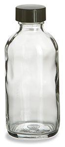Clear Boston Round Glass Bottle 4 oz w/ Cap $.76/ea