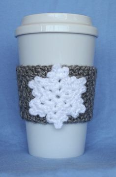Crochet Snowflake Coffee Cup Cozy by TheEnchantedLadybug on Etsy Crochet Coffee Cozy, Coffee Cup Cozy, Crochet Cozy, Crochet Winter, Crochet Gifts, Coffee Mugs, Sweet Coffee, Crochet Christmas, Christmas Knitting