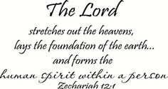 Zechariah 12:1 Wall Art, the Lord Stretches Out the Heavens, Lays the Foundation of the Earth and Forms the Human Spirit Within a Person, Creation Vinyls Creation Vinyls http://www.amazon.com/dp/B00RQ9CFLU/ref=cm_sw_r_pi_dp_Du7Pub06SVJNG