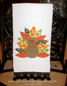 Give Thanks….. { Appliqued Turkey Towel }