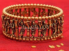 This splendid bangle which reveals our rich culture and heritage is a rare one to find!Weight: gmsApprox Price: in all GRTJewellers showroom: 22 June 2019 1 Gram Gold Jewellery, Gold Jewelry, Gold Bracelets, Temple Jewellery, Antique Jewellery, Bridal Jewellery, Handmade Jewellery, Jewelry Sets, Gold Necklace