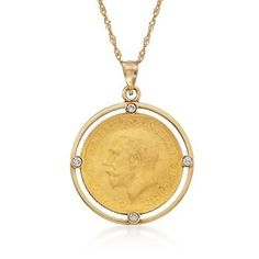 Jewelry OFF! 1925 Vintage Yellow Gold Full Sovereign Coin and Diamond Pendant in Two-Tone. Gold Coin Necklace, Coin Jewelry, Diamond Pendant Necklace, High Jewelry, Luxury Jewelry, Modern Jewelry, Jewelery, Gold Jewellery, Jewelry Necklaces