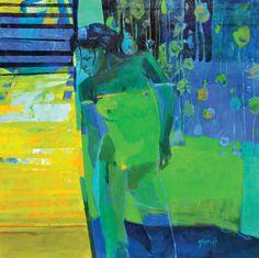 Mujer en Verde, óleo sobre lienzo, 100x100cm, 2012.  www.gracielagenoves.com.ar